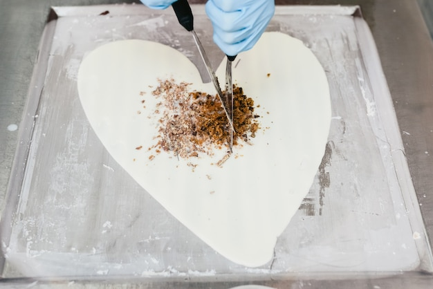 Heart made with ice cream by a chef for valentines.