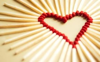 Heart made with matchsticks