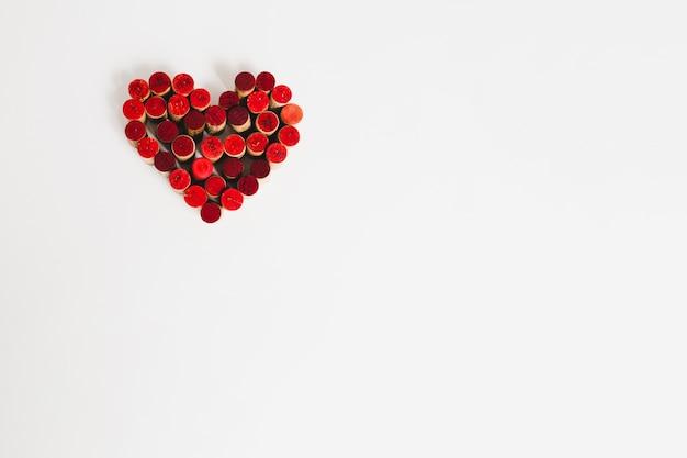 Heart made of wooden blocks