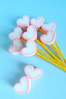 Heart marshmallow balloon background, cute marshmallow background