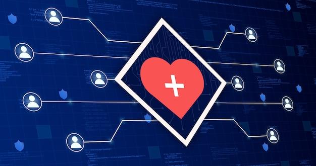 Медицинский значок сердца, соединяющий систему с другими людьми на технологическом фоне 3d