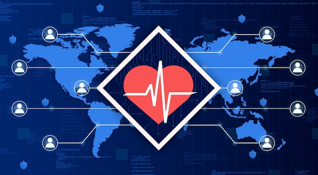 Медицинский значок сердца с кардио на карте мира, соединяющей систему с другими людьми на технологическом фоне 3d