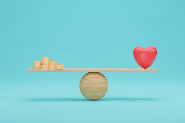 Heart and money scales concept. importance between gold coin and love balance on scale. 3d rendering.