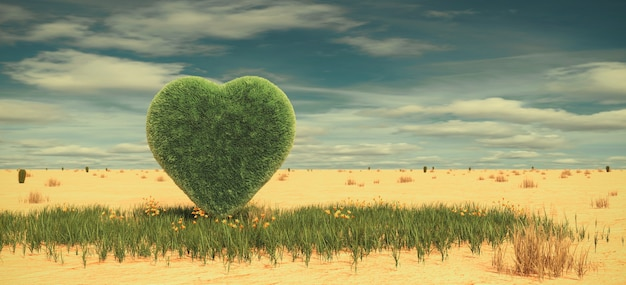 사막에서 잔디의 심장입니다. 사랑 개념, 3d 렌더링