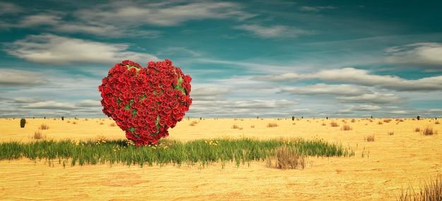 사막에서 장미의 심장입니다. 사랑 개념, 3d 렌더링