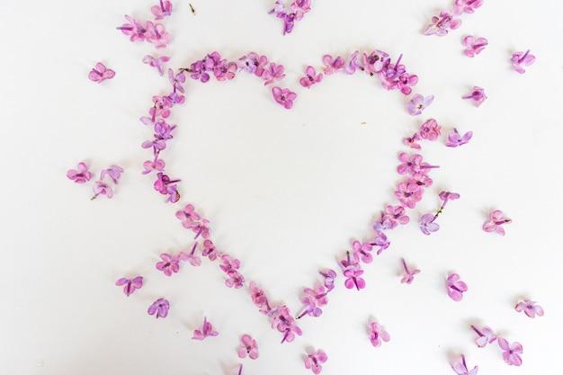 Сердце из весенних цветов сирени на белом фоне. символ любви на день святого валентина. день матери. весна, женский день. частицы искусства.
