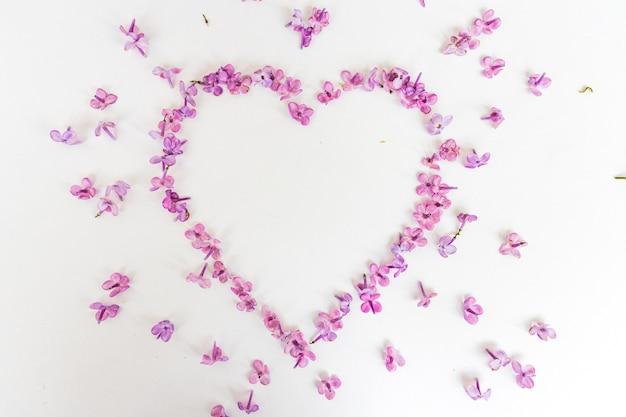 Сердце из весенних цветов сирени на белом фоне. символ любви на день святого валентина. день матери. весна, женский день. частицы искусства. Premium Фотографии