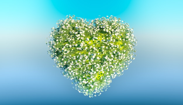 空の背景に白い花の心。 3dレンダリング