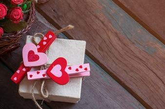 Heart on gift box.
