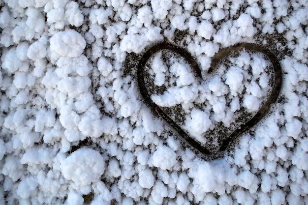 雪に覆われたガラスの凍った心の心