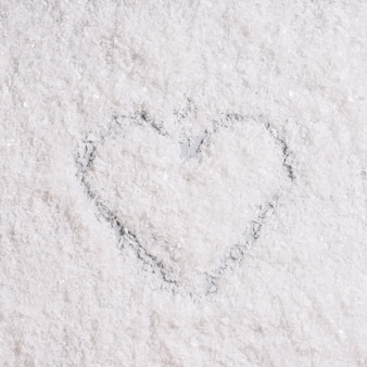 Heart painted on snow