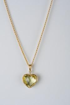 ゴールド、ダイヤモンド、レモンクォーツのハートペンダント