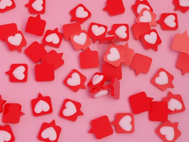 Сердце булавка абстрактное положение 3d визуализации розовый фон