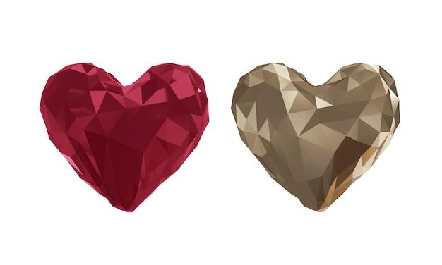 Heart polygon shape vector