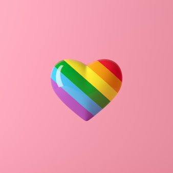 Heart rainbow color, minimal creative concept, 3d rendering