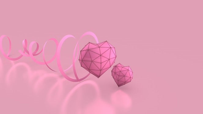 Heart and ribbon on the pink background breast cancer banne 3d rendering 3d render