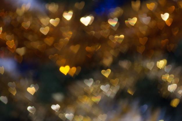 Heart shape bokeh light background, love wedding valentine day concept
