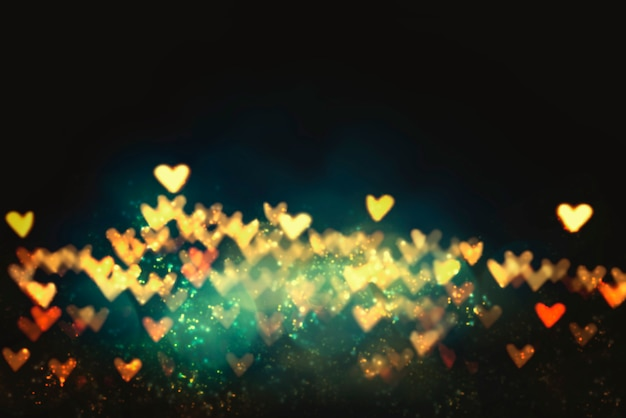Heart shape bokeh for love,wedding and valentine concept background.