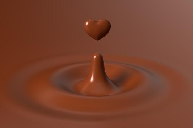 Шоколад в форме сердца поднимается из шоколадной ряби