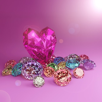 A heart shape diamond on a pile of colorful diamond on pink background with flare.