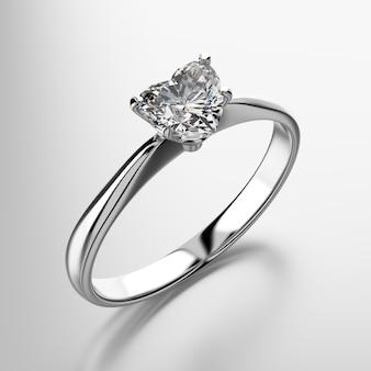 Heart shape diamond ring isolated on white background