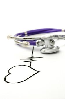 Heart shape ecg line and stethoscope.