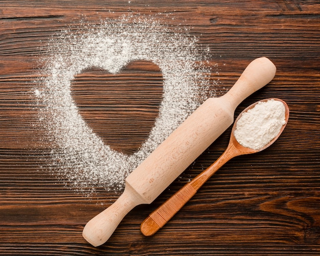Heart shape in flour for valentines day