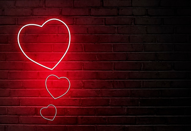 벽에 색된 네온 불빛에서 심장 모양. 발렌타인 데이