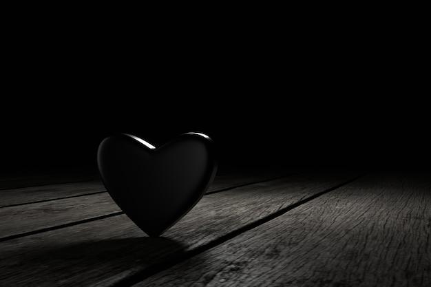 暗闇の中でハートの形。 3dレンダリング。