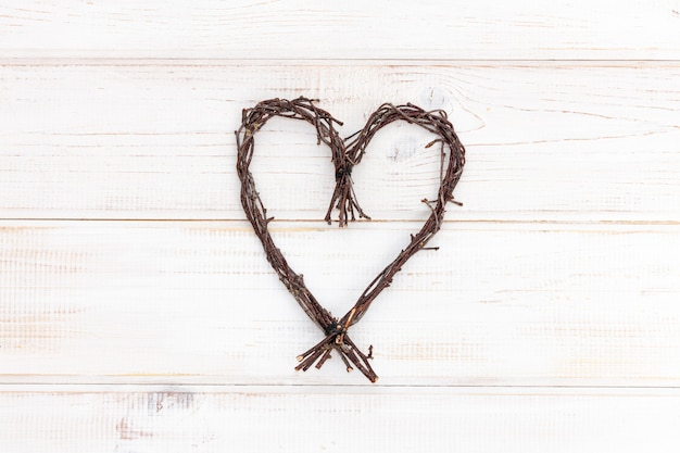 Heart shape made of natural twigs - sign of love