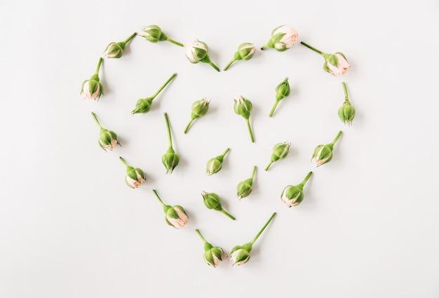 Heart shape made of tiny roses on white background
