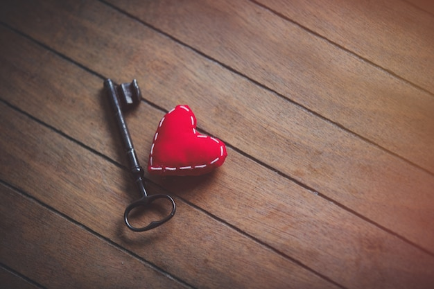 Heart shape and metal classic key