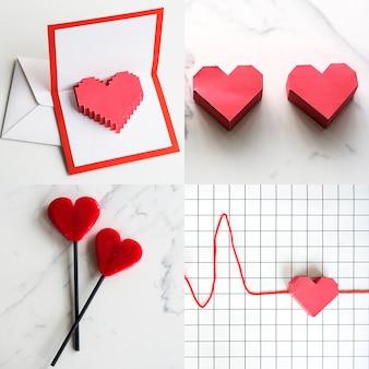 Heart shape mix collage concept