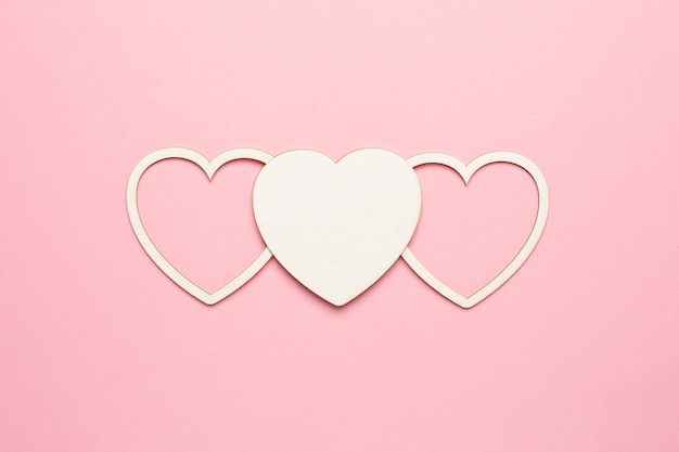 Heart shape on pastel pink background. concept valentine's card. top view , copy space for text