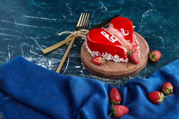 Heart shape red cake for valentine day.