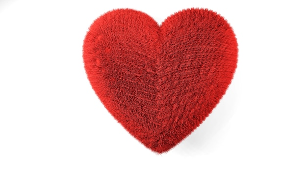 Heart shape red fluffy soft pillow or cushion for valentine's day love ,3d render