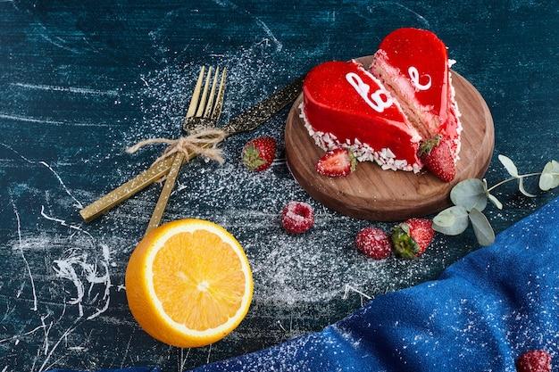 Heart shape red valentine cake.