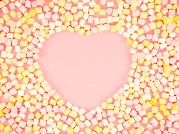 Heart shape surrounded by candy