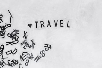 Heart shape with word travel on background