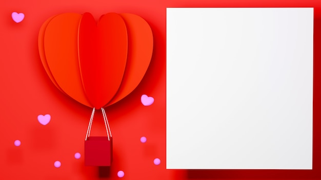 행복한 여자, 아빠 엄마, 달콤한 마음, 빨간색 배경 축하 개념에 심장 모양의 풍선