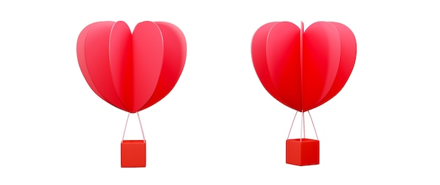 행복 한 여자, 아빠 엄마, 달콤한 마음, 배너 또는 브로셔 생일 인사말 선물 카드 디자인에 대 한 흰색 배경 축 하 개념에 심장 모양의 풍선. 3d 로맨틱 사랑 인사말 포스터입니다.