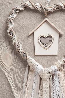Heart shaped beige dreamcatcher
