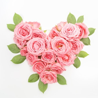 Heart shaped bouquet of roses isolated