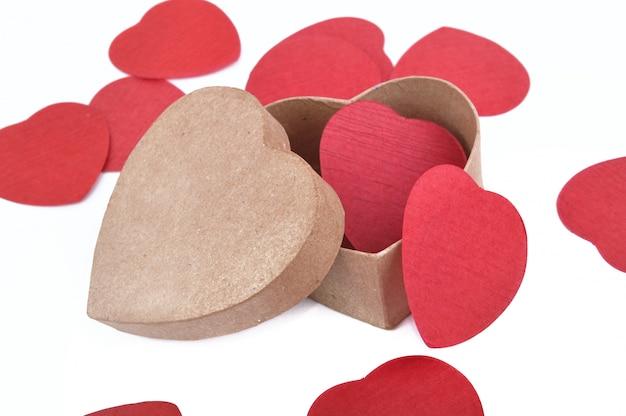Heart-shaped box and confetti