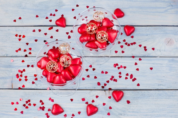 Heart shaped candy in glasses