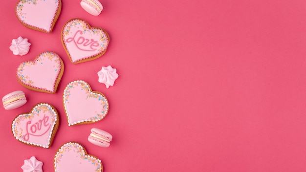 Heart-shaped cookies and meringue for valentines day