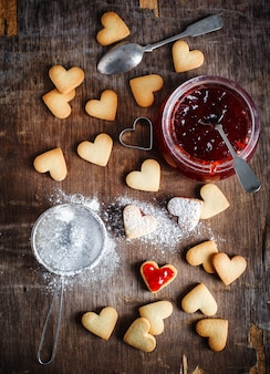 Heart shaped cookies for valentine's day, top view