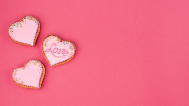 Heart-shaped cookies with copy space for valentines day