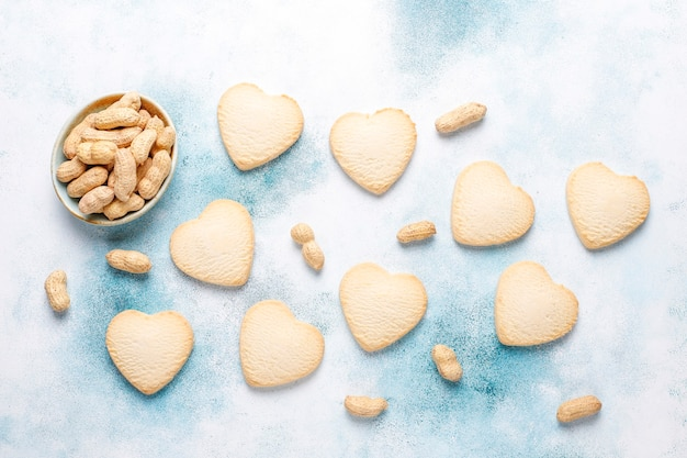 Heart shaped cookies with peanut.