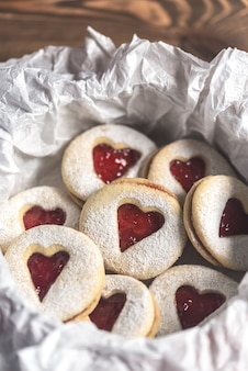 Heart shaped cookies with strawberry filling